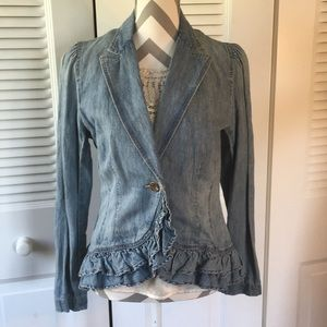 NWT! Ralph Lauren ruffled denim jacket, 10